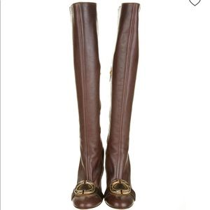 Just cavalli brown knee high leather boots size 9